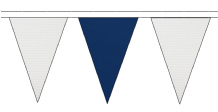 WHITE AND ROYAL BLUE TRIANGULAR BUNTING - 10m / 20m / 50m LENGTHS